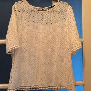 Banana Republic White Loose-fit Lace Top
